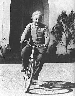 Einstein rides a bicycle