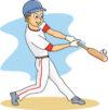 baseball player at bat hitting ball clipart